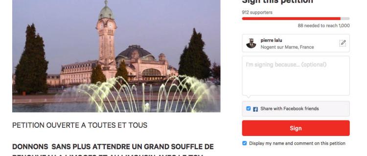 Petition ligne paris limoges
