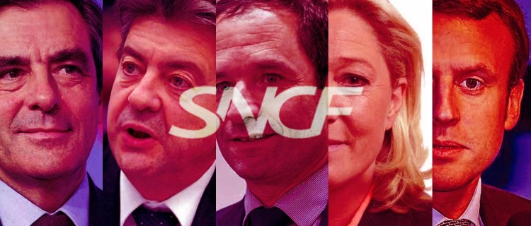 François Fillon, Jean-Luc Mélenchon, Benoît Hamon, Marine Le Pen et Emmanuel Macron : leurs propositions pour le ferroviaire