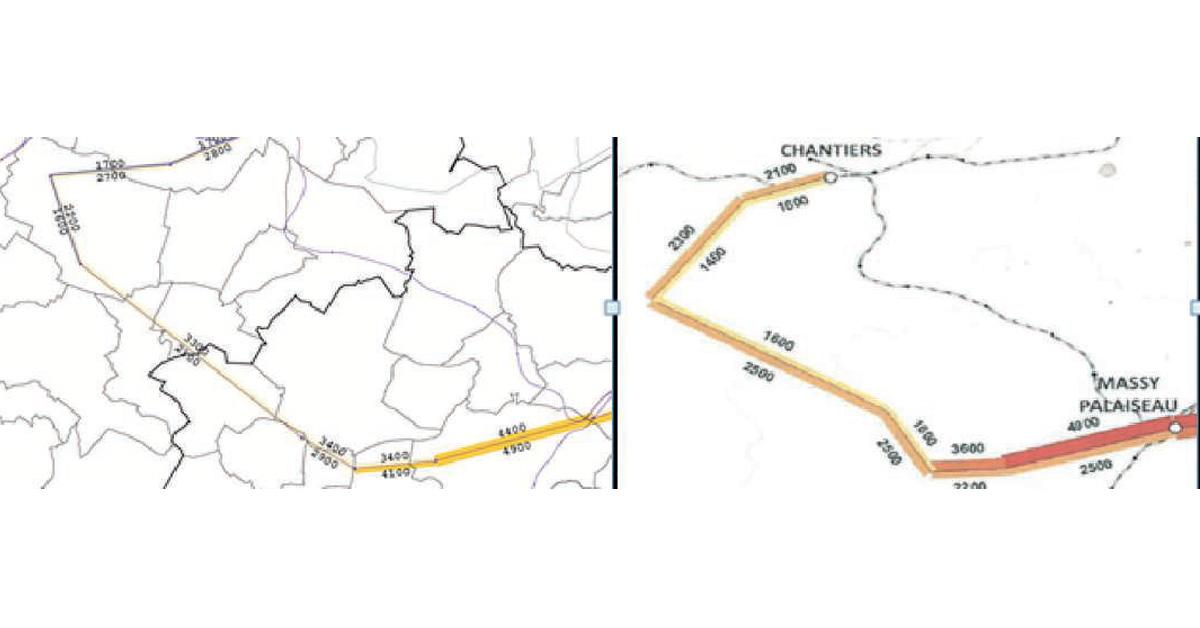 «Serpent de charge » de la RATP à gauche. «Serpent de charge » du Stif à droite.