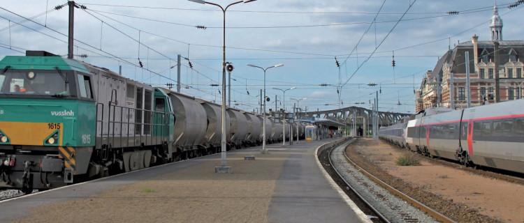 À Valenciennes, une G 2000 en tête d'un convoi de wagons-citernes côtoie une rame TGV (5 juin 2012 ; F. Droisy).