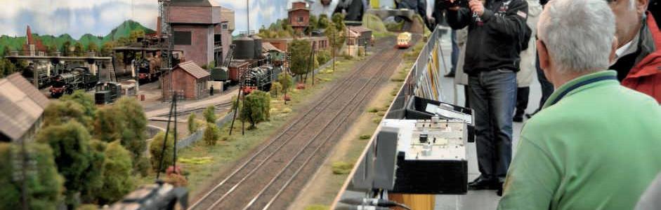 un grand réseau en boucle, des maquettes de wagons anciens, un diorama de Saint-Blin (Haute-Marne) et des passionnés en grande discussion.
