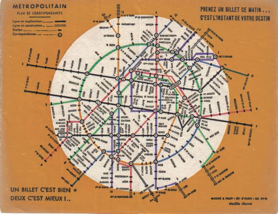 Vieux plan de metro paris