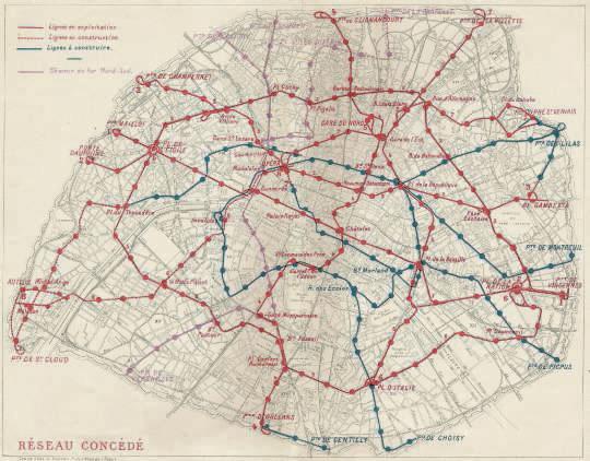 Vieux plan de metro parisien
