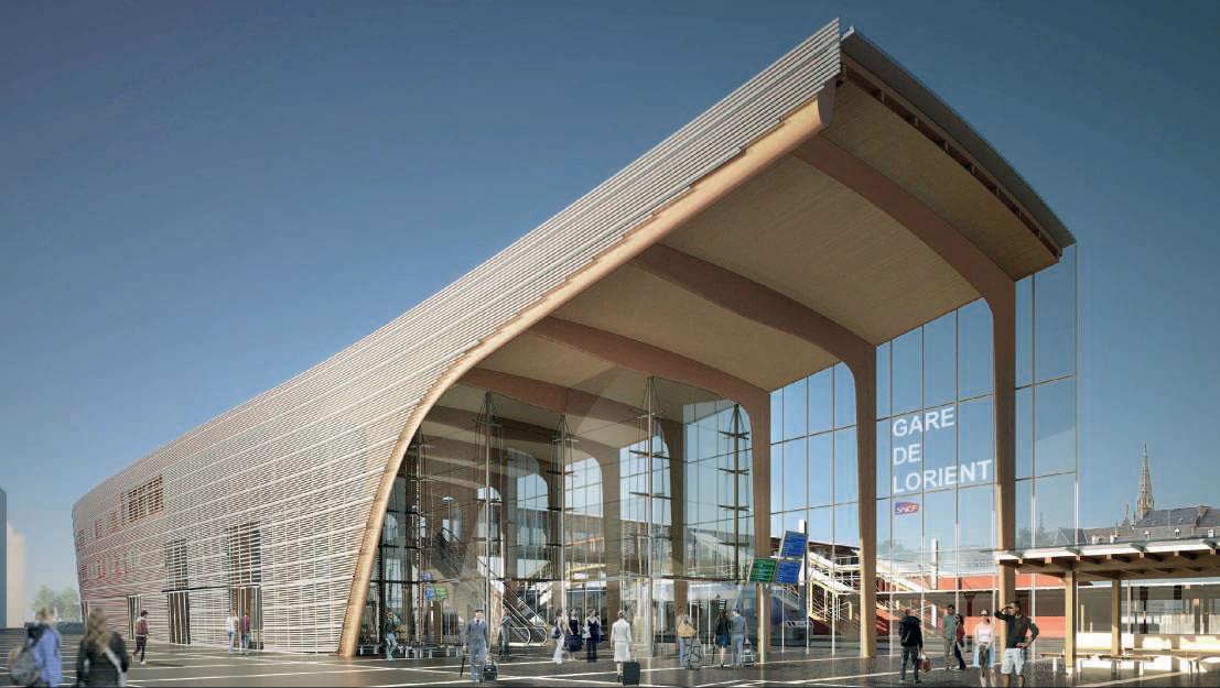 Le projet de PEM de Lorient : perspective extérieure de la façade sud-est.