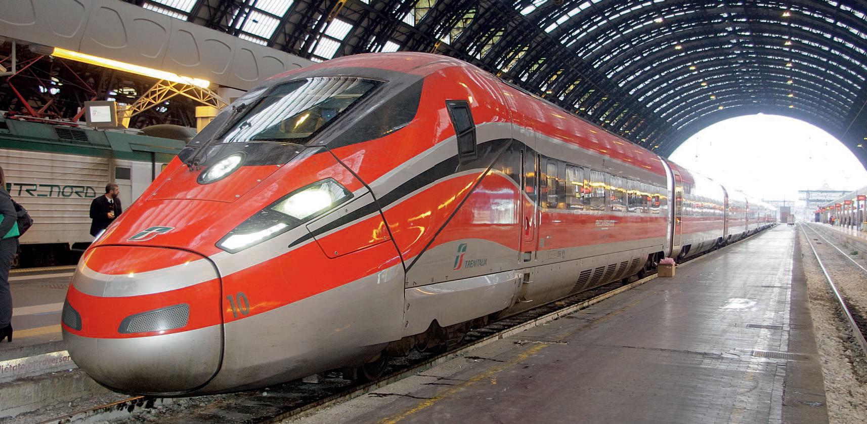 En service depuis juin, la version italienne du Zefiro de Bombardier et AnsaldoBreda, alias Frecciarossa 1000, relie à grande vitesse Rome et la gare centrale de Milan (photo