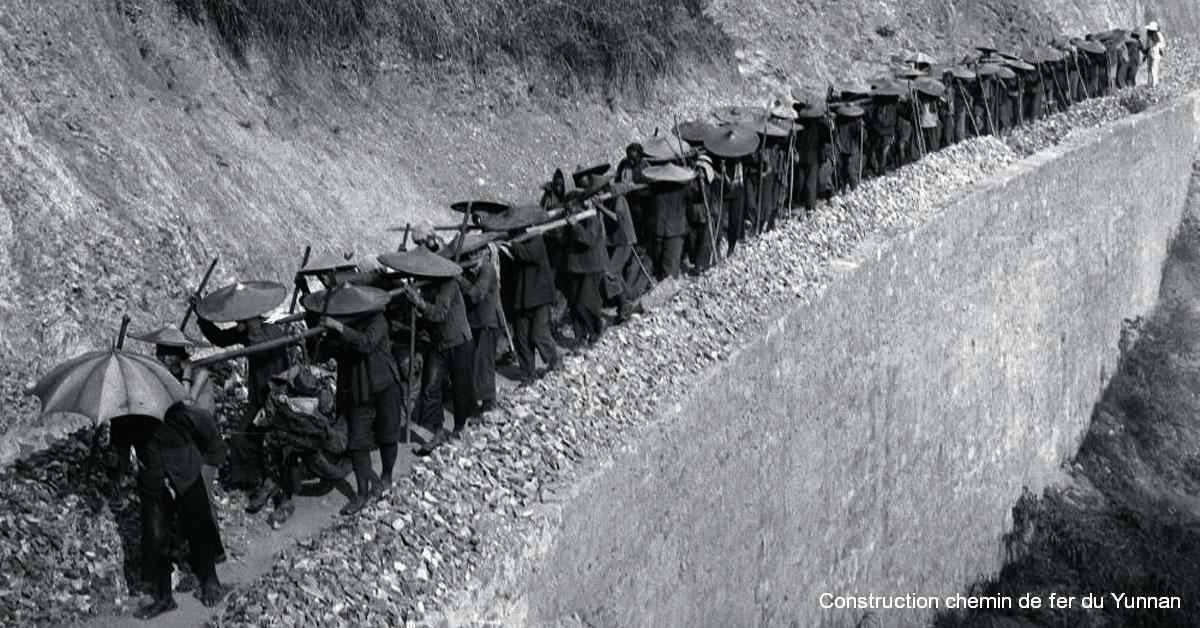 Construction chemin de fer du Yunnan