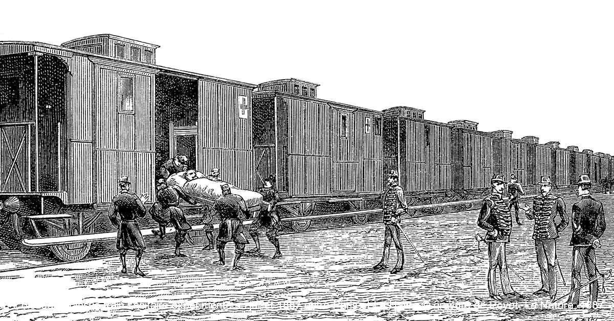 Embarquement d'un « blessé » dans le train sanitaire expérimenté en juillet 1887 entre Paris et Le Havre © gravure de Poyet, La Nature, 1887