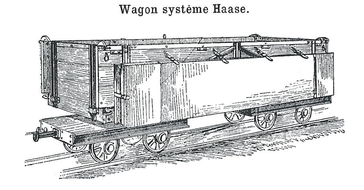 Le wagon Haase, pouvant contenir quatre hommes sur un lit suspendu © d'après de Bloch, op. cit.