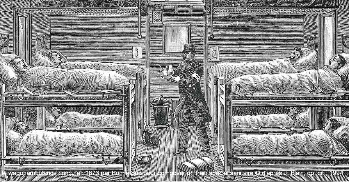 le wagonambulance conçu en 1873 par Bonnefond pour composer un train spécial sanitaire © d'après J. Blain, op. cit., 1994