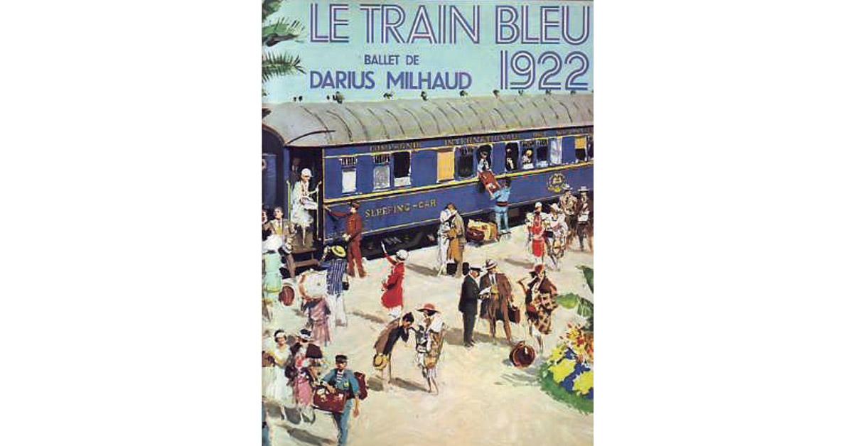L'affiche du Train Bleu, ballet qui ne réunit pas moins que les talents de Nijinska, Darius Milhaud, Jean Cocteau, Picasso, Coco Chanel…