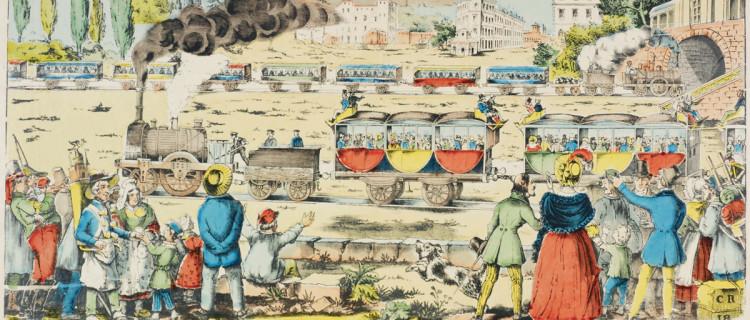 Puisque selon la légende de cette image d'Épinal, « les chemins de fer sont, sans contredit, l'une des merveilles de ce siècle naissant qui occupent le premier rang », cette planche leur est consacrée : toutes les classes sociales doivent se réjouir de cette merveille, se familiariser avec les wagons et ces longs souterrains transperçant quelque montagne. Éditée en 1838, après l'ouverture en France de la septième ligne, celle de Saint-Germain, le commentaire souligne notre retard par rapport aux États-Unis, à la Belgique, à l'Angleterre, et comble, par rapport à « ce pays si arriéré » qu'est la Russie. Utilisée pour illustrer Hommes et choses du PLM (p. 100), ouvrage publié par cette compagnie en 1911, cette planche sera tirée de la collection de son président Dervillé (Arch. dép. Vosges, 48J5_6-5).