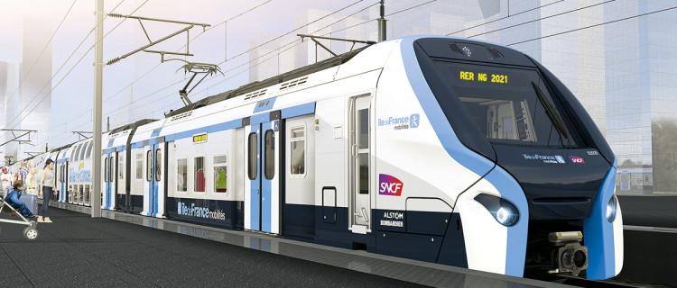 Vue d'artiste de la rame RER NG Alstom-Bombardier en nouvelle livrée IdFM.