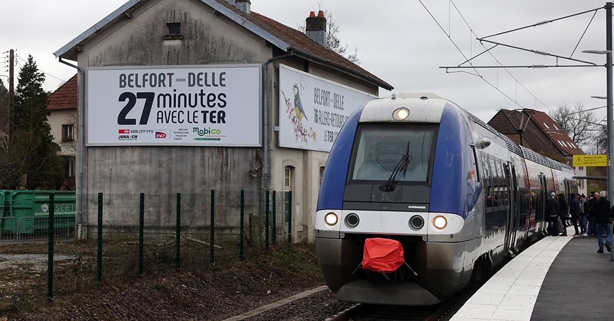 Gare de Morvillars qui se trouve sur la ligne Belfort-Delle.